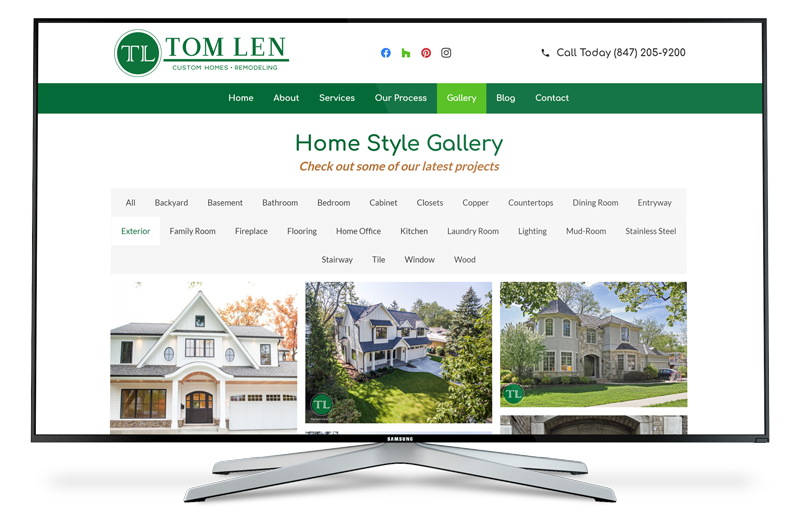 Ruben Digital Marketing Team - Client Work Examples - Website Gallery - Tom Len Custom Homes - North Shore's Best Home Builder